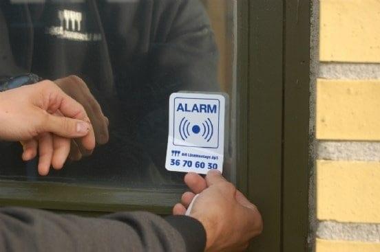 klistermærke vedr- alarm